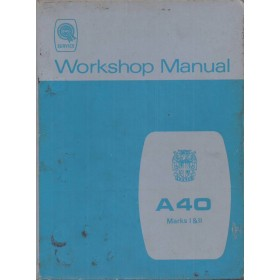 Austin A40 Werkplaatshandboek  Mk1/Mk2 Benzine Fabrikant 68 met gebruikssporen rug beschadigd  Engels