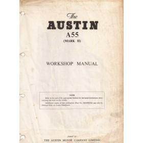 Austin A55 Werkplaatshandboek  Mk2 Benzine Fabrikant 59 met gebruikssporen komt uit ringband, volledigheid niet verifieerbaar  Engels