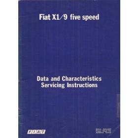 Fiat X 1/9 Data and Servicing Intructions  5-speed Benzine Fabrikant 78 met gebruikssporen   Engels
