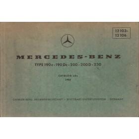 Mercedes-Benz 190c/190Dc/200/200D/230 Onderdelengids   Benzine Fabrikant 65 met gebruikssporen   Duits/Engels/Frans/Spaans