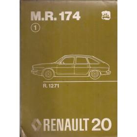 Renault 20 Werkplaatshandboek  R1271 Benzine Fabrikant 75 met gebruikssporen mechanisch gedeelte  Nederlands