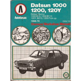 Datsun 1000/1200/120Y Owners Workshop Manual K. Ball model B110 Benzine Autobooks 68-78 met gebruikssporen   Engels