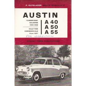 Austin A40/A50/A55 Motor Manual P. Olyslager  Benzine Nelson 54-63 ongebruikt met notities  Engels