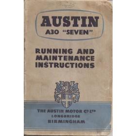 Austin A30 Seven Instructieboekje   Benzine Fabrikant 54 met gebruikssporen   Engels