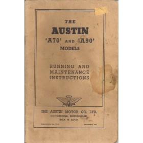 Austin A70/A90 Instructieboekje   Benzine Fabrikant 51 met gebruikssporen lichte vochtschade  Engels