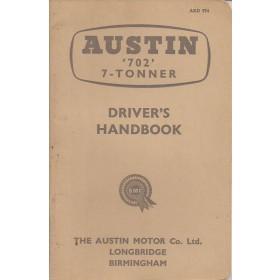 Austin 702 7-tonner Instructieboekje   Benzine Fabrikant 62 c ongebruikt   Engels