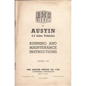 Austin 2.2 Diesel Instructieboekje   Diesel Fabrikant 56 met gebruikssporen kaft ontbreekt  Engels