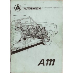 Autobianchi A111 Instructieboekje   Benzine Fabrikant 71 met gebruikssporen aantekeningen op laatste pagina, vouw in kaft  Nederlands
