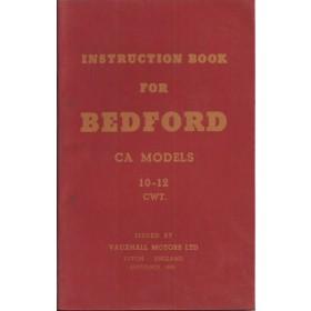 Bedford CA models (10-12 cwt) Instructieboekje   Benzine Fabrikant 56 ongebruikt   Engels