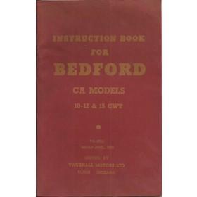 Bedford CA models (10-12-15 cwt) Instructieboekje   Benzine Fabrikant 58 met gebruikssporen   Engels