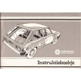 Chrysler Sunbeam Instructieboekje   Benzine Fabrikant 78 ongebruikt   Nederlands