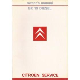 Citroen BX Instructieboekje   Diesel Fabrikant 85 ongebruikt   Engels