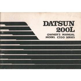 Datsun 200L Instructieboekje  model C230 Benzine Fabrikant 77 ongebruikt   Engels