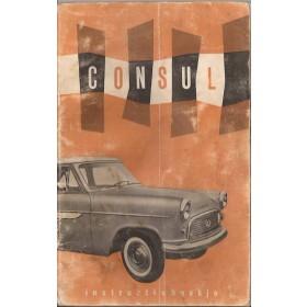Ford Consul Instructieboekje   Benzine Fabrikant 59 met gebruikssporen vouw in kaft, lichte vochtschade  Nederlands