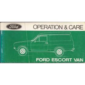 Ford Escort Van Instructieboekje   Benzine Fabrikant 78 ongebruikt vouw in kaft  Engels
