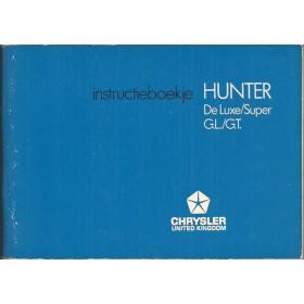 Hillman Hunter Instructieboekje   Benzine Fabrikant 71 ongebruikt   Nederlands