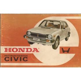 Honda Civic Mk1 Instructieboekje Benzine Fabrikant 77 met gebruikssporen oranje kaft  Nederlands