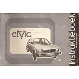Honda Civic Mk1 Instructieboekje Benzine Fabrikant 78 met gebruikssporen   Nederlands