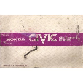 Honda Civic Mk2 Instructieboekje Benzine Fabrikant 79 met gebruikssporen beschadigde kaft  Nederlands/Frans