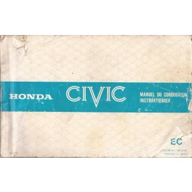 Honda Civic Mk2 Instructieboekje Benzine Fabrikant 80 met gebruikssporen beschadigde kaft  Nederlands/Frans/Engels/Duits