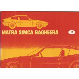 Matra Simca Bagheera Instructieboekje   Benzine Fabrikant 78 ongebruikt   Duits
