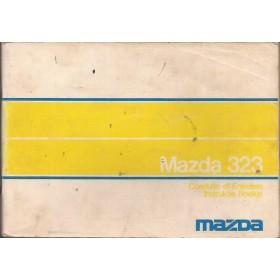 Mazda 323 Instructieboekje   Benzine Fabrikant 76 met gebruikssporen lichte vochtschade  Nederlands/Frans