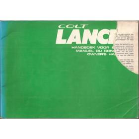 Mitsubishi Colt/Lancer Instructieboekje   Benzine Fabrikant 75 met gebruikssporen groot formaat, hoekje van kaft af  Nederlands/Frans/Engels