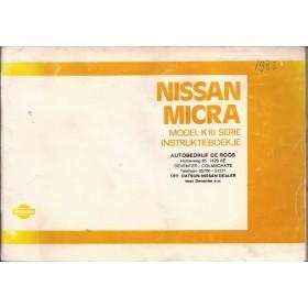 Nissan Micra Instructieboekje  model K10 Benzine Fabrikant 83 met gebruikssporen   Nederlands