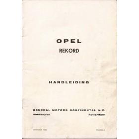 Opel Rekord B Instructieboekje   Benzine Fabrikant 65 met gebruikssporen kaft ontbreekt  Nederlands