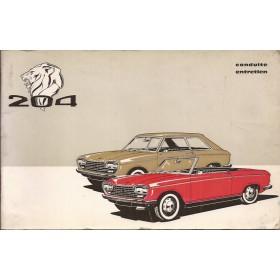 Peugeot 204 Cabriolet / 204 Coupe Instructieboekje   Benzine Fabrikant 68 met gebruikssporen   Frans