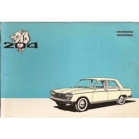 Peugeot 204 Instructieboekje   Benzine Fabrikant 73 met gebruikssporen   Frans