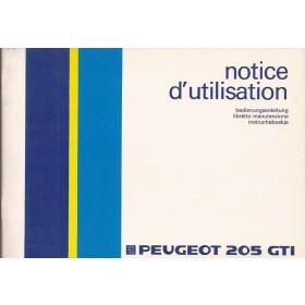 Peugeot 205 Gti Instructieboekje   Benzine Fabrikant 85 ongebruikt   Nederlands/Duits/Frans/Italiaans