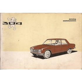 Peugeot 304 Instructieboekje   Benzine Fabrikant 70 met gebruikssporen   Engels