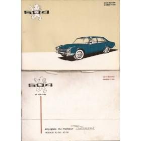 Peugeot 504 Instructieboekje   Benzine Fabrikant 72 met gebruikssporen in originele map, met dieselsupplement  Frans