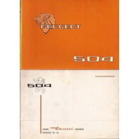 Peugeot 504 Instructieboekje   Benzine/Diesel Fabrikant 77 met gebruikssporen met dieselsupplement  Nederlands/Duits/Frans/Italiaans