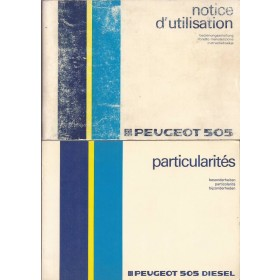 Peugeot 505 Instructieboekje   Benzine/Diesel Fabrikant 85 met gebruikssporen met dieselsupplement  Nederlands/Duits/Frans/Italiaans