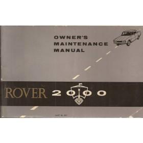 Rover 2000 Instructieboekje   Benzine Fabrikant 67 met gebruikssporen   Engels