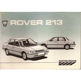 Rover 213 Instructieboekje   Benzine Fabrikant 85 ongebruikt   Nederlands