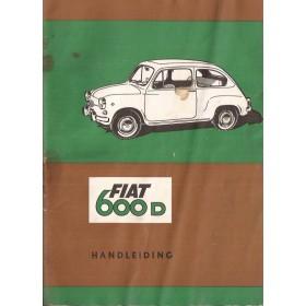 Fiat 600D Instructieboekje   Benzine Fabrikant 66 met gebruikssporen lichte vochtschade  Nederlands
