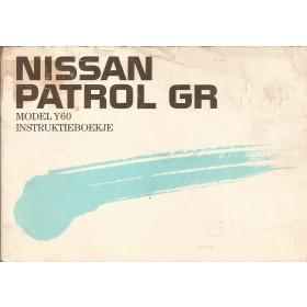 Nissan Patrol GR Instructieboekje  model Y60 Benzine/Diesel Fabrikant 89 met gebruikssporen los in kaft  Nederlands