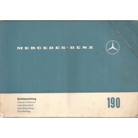 Mercedes-Benz 190 Instructieboekje Benzine Fabrikant 62 met gebruikssporen vouw in kaft Nederlands/Duits/Engels